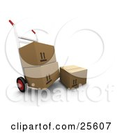 Clipart Illustration Of Box Resting By A Dolly Moving Two Cardboard Boxes