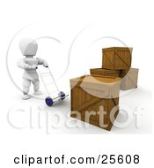 Clipart Illustration Of A White Character Moving A Hand Truck Forward To Move A Heavy Shipping Crate by KJ Pargeter