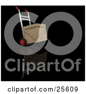 Clipart Illustration Of A Dolly With Red Wheels And Handles Moving A Wooden Shipping Crate by KJ Pargeter