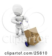 Clipart Illustration Of A Working White Character Pushing Boxes On A Dolly