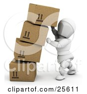 Clipart Illustration Of A White Character Straightening Leaning Boxes Of Cardboard Shipping Boxes