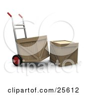 Clipart Illustration Of A Hand Truck Moving A Shipping Crate Parked By Another Crate by KJ Pargeter