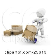 Clipart Illustration Of A White Moving Boxes Around In A Warehouse With The Help Of A Hand Truck by KJ Pargeter