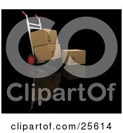 Clipart Illustration Of A Box Resting By A Hand Truck Moving Two Cardboard Boxes by KJ Pargeter