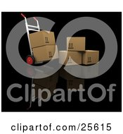 Clipart Illustration Of A Dolly With Two Boxes Loaded Parked By Three Cardboard Boxes by KJ Pargeter