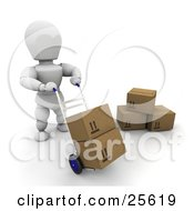 White Character Moving Boxes On A Dolly In A Warehouse