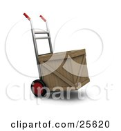 Hand Truck With Red Wheels And Handles Moving A Wooden Shipping Crate