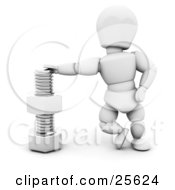 Clipart Illustration Of A White Character Leaning Against A Nut And Bolt