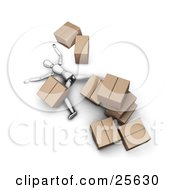 Clipart Illustration Of A White Figure Character Lying Injured On The Floor Under A Collapsed Pile Of Heavy Cardboard Boxes