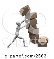 Clipart Illustration Of A White Figure Character Straightening Leaning Boxes Of Cardboard Shipping Boxes