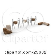 Clipart Illustration Of A Group Of White Figure Characters Helping Eachother Move Shipping Boxes From One Pile To Another by KJ Pargeter