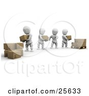 Clipart Illustration Of A Team Of White Characters Helping Eachother Move Shipping Boxes From One Pile To A Pallet