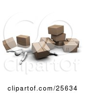 Clipart Illustration Of An Injured White Figure Character Lying Under A Collapsed Pile Of Heavy Cardboard Shipment Boxes