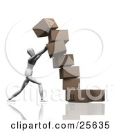 Clipart Illustration Of A White Figure Character Trying To Steady A Leaning Boxes Of Cardboard Shipping Boxes by KJ Pargeter