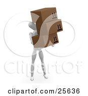 Clipart Illustration Of A White Figure Character Carrying Three Cardboard Shipping Boxes