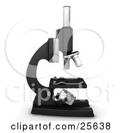 Clipart Illustration Of A Profiled Black And Silver Science Lab Microscope Over White by KJ Pargeter