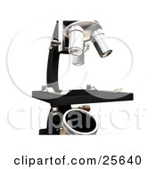 Clipart Illustration Of A Closeup Of A Black And Silver Microscope On A Counter Of A Science Laboratory Over White