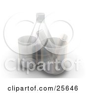 Clipart Illustration Of Two Test Tubes In Beakers By A Flask In A Laboratory Over White