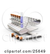 Clipart Illustration Of A Liquid Filled Test Tube In A Slot Of A Tray In A Science Lab Over White