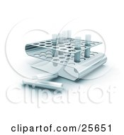Clipart Illustration Of Two Empty Test Tubes Resting On A Counter By A Tray Of Filled Test Tubes