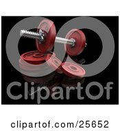 Clipart Illustration Of A Red Dumbbell Resting On Disc Weights In A Gym