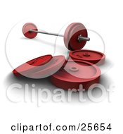 Clipart Illustration Of Silver And Red Dumbbells And Barbell Weights Over White