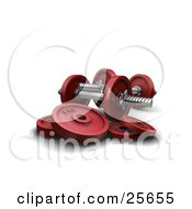 Clipart Illustration Of Two Red Dumbbells With Weights Over White