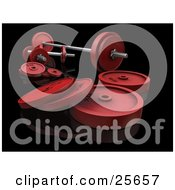Clipart Illustration Of A Set Of Silver And Red Dumbbells And Barbell Weights Over White