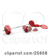 Clipart Illustration Of A Set Of Red And Chrome Dumbbells And Barbell Weights Over White