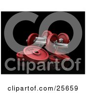Clipart Illustration Of Two Red Dumbbells With Weights Over Black