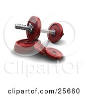 Clipart Illustration Of A Dumbbell With Red Circle Weights