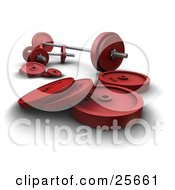 Clipart Illustration Of A Red Weights And Dumbbells By A Barbell In A Gym by KJ Pargeter