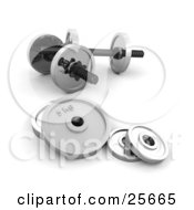 Clipart Illustration Of A Set Of Chrome Dumbbells With Round Weights Resting On The Floor Of A Gym by KJ Pargeter