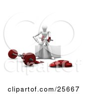 Clipart Illustration Of A White Figure Character Lifting Red Dumbbells Near A Barbell In A Gym