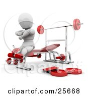 Clipart Illustration Of A White Character On A Bench In A Fitness Gym Doing Leg Exercises