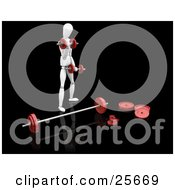 Clipart Illustration Of A White Figure Character Standing And Doing Arm Exercises With Dumbbells While Standing In Front Of A Barbell