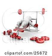 Clipart Illustration Of A White Character On A Bench In A Gym Doing Arm Exercises by KJ Pargeter