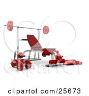 Clipart Illustration Of A Red And Silver Bench Press System With Weights And A Barbell In A Gym
