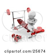 Clipart Illustration Of A White Character Doing Leg Exercises On A Bench In A Fitness Gym