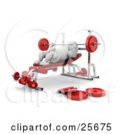 Clipart Illustration Of A Strong White Character Bench Pressing With A Weighted Barbell In A Gym