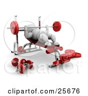Clipart Illustration Of A White Character Bench Pressing With A Barbell In A Gym