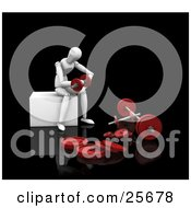 Clipart Illustration Of A Seated White Figure Character Sitting And Doing Arm Curls With Red Dumbbells