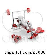 Clipart Illustration Of A White Character Doing Arm Exercises On A Bench In A Fitness Gym