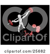 Clipart Illustration Of A White Figure Character Holding A Barbell Above His Head And Standing By Weights While Strength Training In A Gym by KJ Pargeter