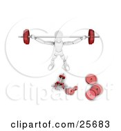 Clipart Illustration Of A White Figure Character With A Barbell Above His Head And Dumbbells Scattered While Strength Training In A Gym