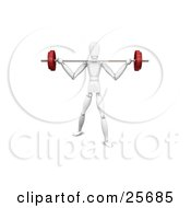 Clipart Illustration Of A White Figure Character Trying To Lift A Heavy Barbell Past His Shoulders by KJ Pargeter