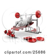 Clipart Illustration Of A White Character Lifting A Barbell On A Bench Press In A Gym
