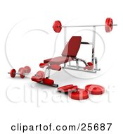 Clipart Illustration Of A Chrome Bench Press Setup With Red Padding And Weights In A Fitness Gym