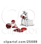 White Figure Character Working Out With Dumbbells In A Gym