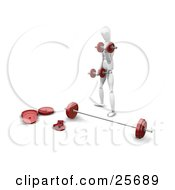 Clipart Illustration Of A White Figure Character Standing In Front Of A Barbell Doing Exercises With Dumbbells